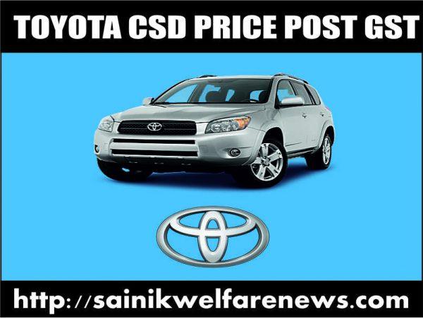 Toyota Car CSD Price